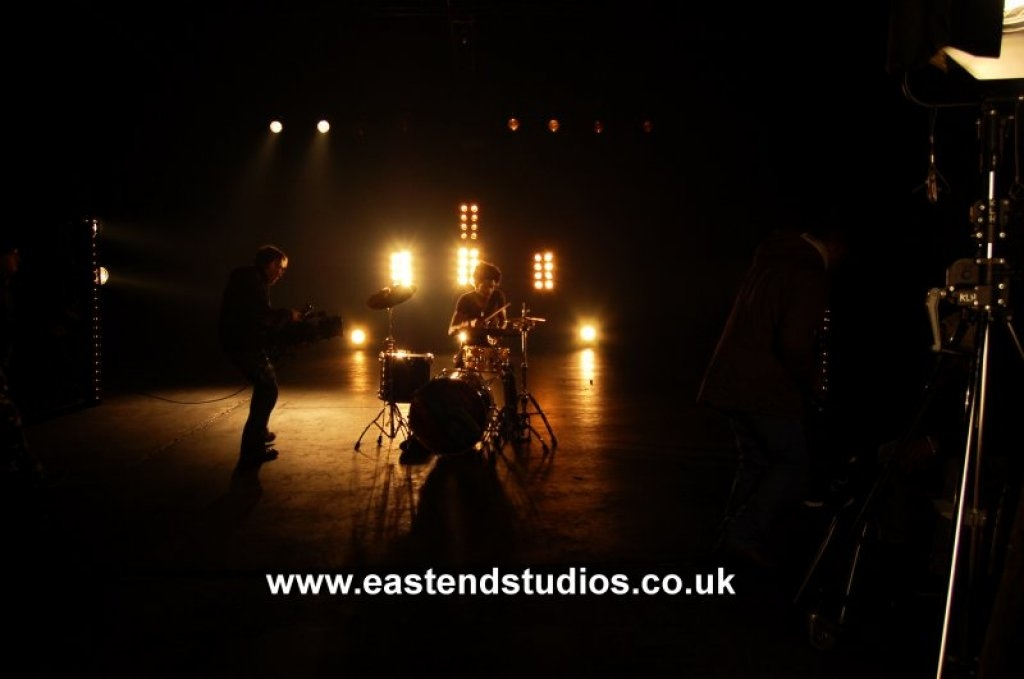 Music video shoot at East End Studios, blacked out studio